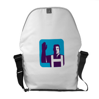 Worker Right Arm Raise to Vote Square Retro Commuter Bags