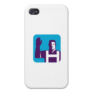 Worker Right Arm Raise to Vote Square Retro Cover For iPhone 4