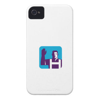 Worker Right Arm Raise to Vote Square Retro iPhone 4 Cover