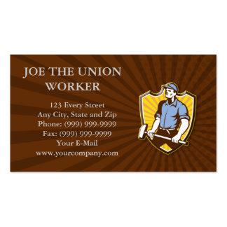 Worker Wielding Sledgehammer Crest Retro Business Card Templates