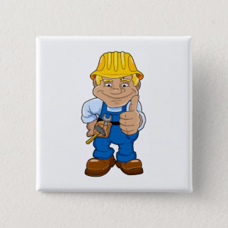 Worker With Hard Hat 15 Cm Square Badge