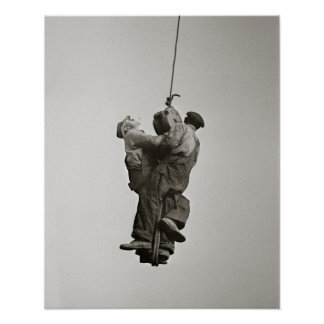 Workers Lifted by Crane, 1935. Vintage Photo Poster