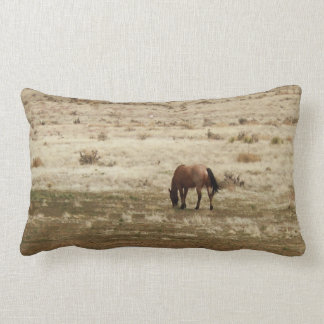 Working Buckskin Cow Horse Grazes Western Style Lumbar Cushion