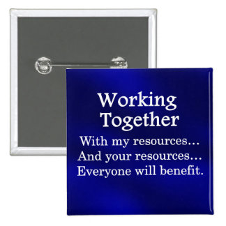 Working together to benefit others 15 cm square badge
