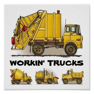 Working Trucks Construction Poster Print