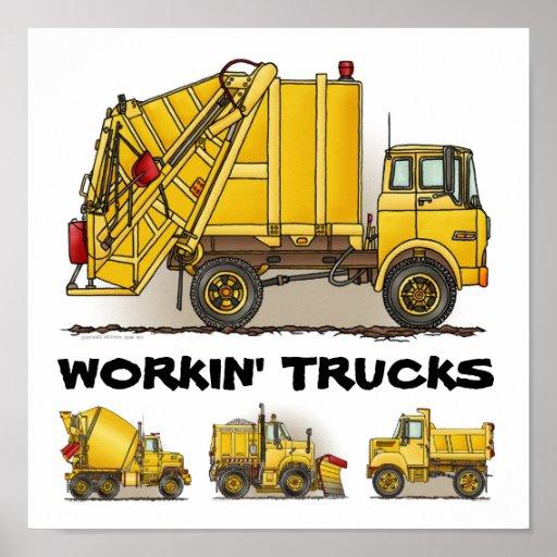 Working Trucks Construction Poster Print