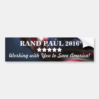 Working with You to Save America! ~Rand Paul 2016 Bumper Sticker