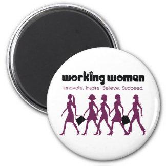 Working Women 6 Cm Round Magnet