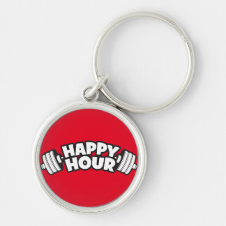 Workout - Happy Hour - Funny Gym Motivational Silver-Colored Round Key Ring