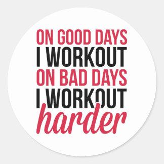Workout Harder Gym Quote Classic Round Sticker