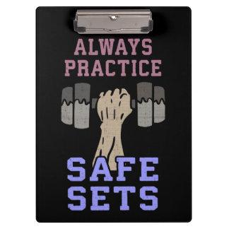 Workout Humor - Practice Safe Sets - Novelty Gym Clipboard