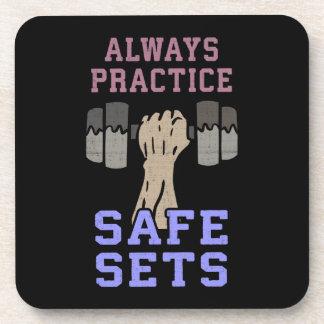Workout Humor - Practice Safe Sets - Novelty Gym Coaster