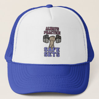Workout Humor - Practice Safe Sets - Novelty Gym Trucker Hat