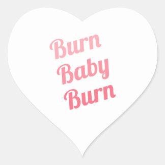 Workout Inspiring Quote Burn Baby White Heart Sticker