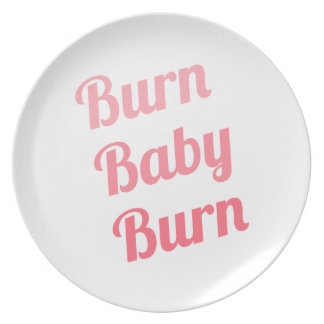 Workout Inspiring Quote Burn Baby White Dinner Plates