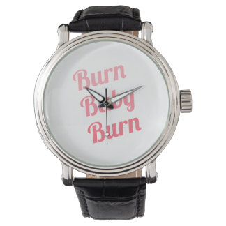 Workout Inspiring Quote Burn Baby White Wristwatches