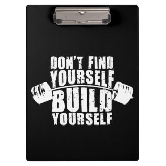 Workout Motivation - Build Yourself - Barbell Clipboard