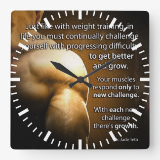 Workout Motivational Words - Challenge and Growth Square Wall Clock