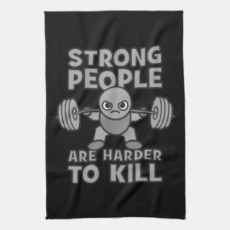 Workout - Strong People Are Harder To Kill, Kawaii Tea Towel