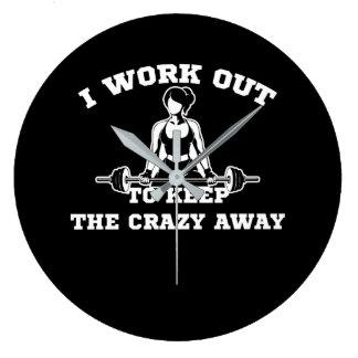 Workout To Keep Crazy Away Workout Women Large Clock