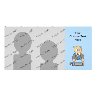 Works in an Office Blue Tie Photo Card Template