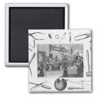 Workshop and main tools of jewellery, 1810 square magnet