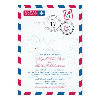 World Airmail New York USA & Kymi Greece | Wedding 13 Cm X 18 Cm Invitation Card