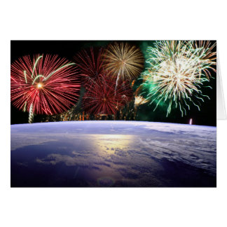 World and Fireworks Greeting Card