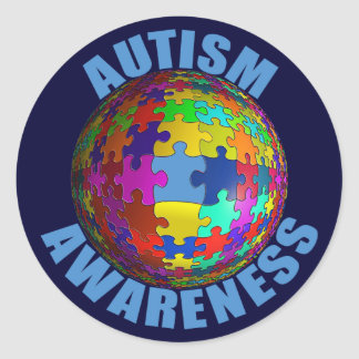 "World Autism Awareness 3"" Round Stickers (6/sheet)"
