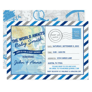 World Awaits Baby Shower Invitation Blue Postcard