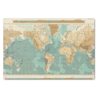 World bathyorographical map tissue paper