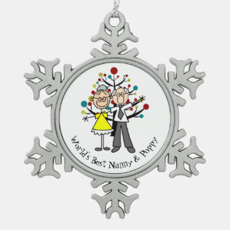 World Best Nanny and Poppy Snowflake Ornament
