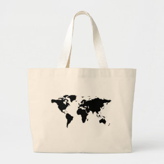 world black graphic map bag