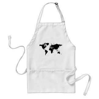 world black graphic map standard apron
