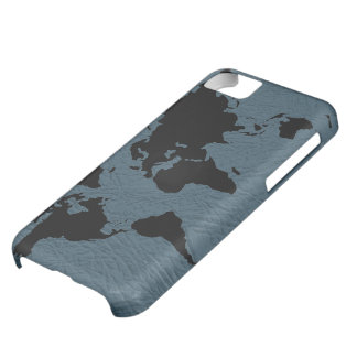 world black  map - leather cover for iPhone 5C
