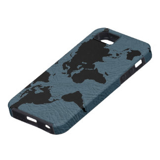 world black  map - leather iPhone 5 cases