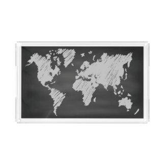 World Chalkboard Map Acrylic Tray