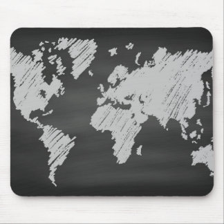 World Chalkboard Map Mouse Pad