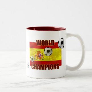 World Champions Spain flag soccer ball 2010 Two-Tone Coffee Mug