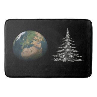 world christmas and fir tree bath mats