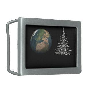 world christmas and fir tree belt buckle