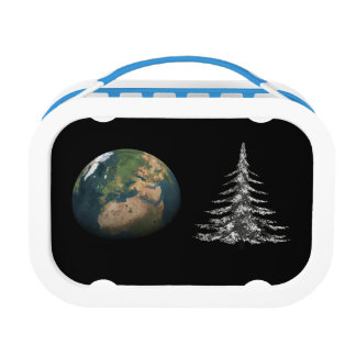 world christmas and fir tree lunch box