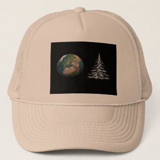 world christmas and fir tree trucker hat