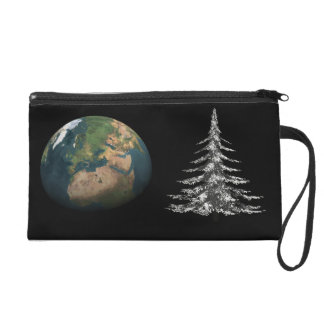 world christmas and fir tree wristlet clutches