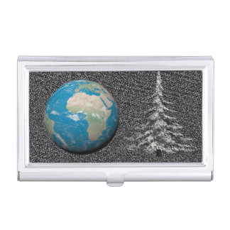 world christmas and snow business card holder