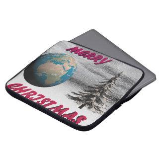 world christmas and snow laptop sleeve