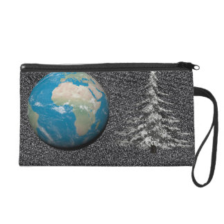 world christmas and snow wristlet