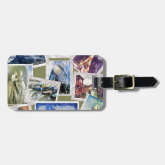 world cities icons landmarks luggage tag