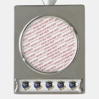 World Class Graduation - Cap and Golden Diploma Silver Plated Banner Ornament