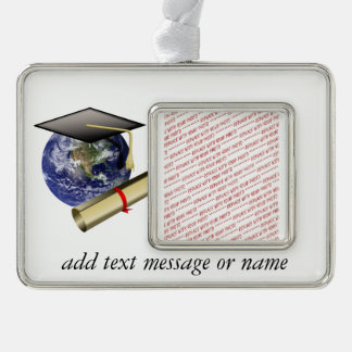 World Class Graduation - Cap and Golden Diploma Silver Plated Framed Ornament